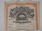Southern States 1915 Life Insurance Letterhead Policy Agreement Vintage