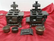 2 Incomplete Vintage Queen Cast Iron Toy Stoves Salesman Sample For Parts S7c