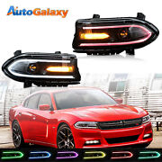 2pcs Led Drl Projector Headlights For 2015-2020 Dodge Charger Rgb Color Change