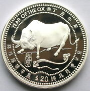Liberia 1997 Year Of Ox 如意andldquo 20 Dollars 1oz Silver Coinproof