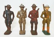 Lot Of 4 Antique Cast Iron Wwi Toy Soldiers Military Parade Doughboy Figures