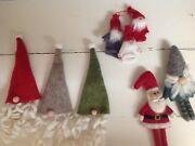 Pottery Barn Garnet Hill Holiday Wool Felt Wine Bottle Toppers Santa And Gnomes