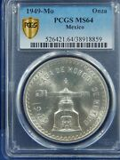 1949 Mexico 1 Balance Onza Pcgs Ms64 Silver White Registry 1st Year Gold Label