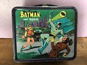 1966 Aladdin Industries Metal Batman And Robin Lunchbox With Thermos
