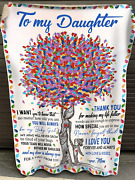To My Daughter Momand039s Gift Love And Kisses Family Tree Sherpa Fleece Blanket