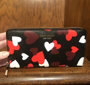 Nwt-kate Spade-spencer-hearts Celebration-zip Continental Wallet-❤️🤍🖤188