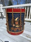 Antique Painted Folk Art Collectible Drum With American Eagle Original Paint