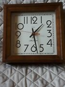 Vintage Seth Thomas Square Wooden Hanging Wall Clock Quartz Battery Operated