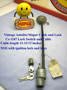 1930and039s 1940and039s Mopar Autolite Ignition Lock And Cable Assembly Nos