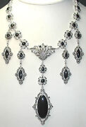 Statement Marcasite And Onyx Necklace Sterling Silver Wedding Mother Of Bride