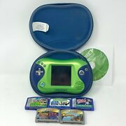 Leapfrog Leapster 2 Learning System Bundle Green And Blue W/ 5 Games And Case Euc