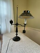 25 Vtg Tole Ware Student Desk Lamp Black And Brass Metal Low Glare Sold As Is