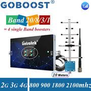 800/900/1800/2100mhz 4 Band Cell Phone Signal Booster 2/3/4g Repeater Data Voice