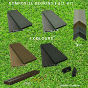 Complete Composite Wpc Decking Boards Embossed Woodgrain Plastic Kit Incl Joist