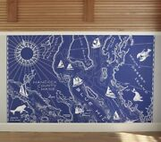 Pottery Barn Pb Map Wall Decal Hanging Decor Blue Nautical 10x8 Sold Out