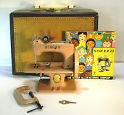 1955 Singer 20 Sewhandy Sewing Machine W/ Accessories Carrying Case And Manual
