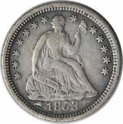 1853-o Liberty Seated Silver Half Dime Arrows Vf Uncertified