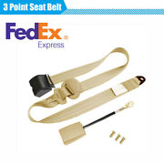 3 Point Fixed Retractable Car Safety Seat Belt Lap Emergency Locking Beige 1pc
