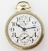 .a Wonderful C.1921 Elgin Father Time 16s 21 Jewel Up Down 52mm Of Pocket Watch