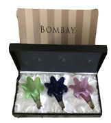 Vintage Bombay Murano Glass Floral Bottle Stoppers Set Of 3 Wine Stoppers W/ Box