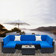 7 Pieces Rattan Wicker Sofa Set Patio Sectional Couch Cushions Outdoor Furniture