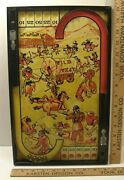 Vintage 1930's Lindstrom Tool And Toy Tin Litho Wild West Pinball Bagatelle Game