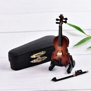 Handmade Gifts Wooden Violin Music Instrument Miniature Replica With Case Gift