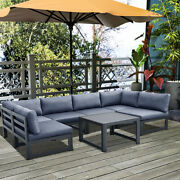 Outdoor Patio Sofa Conversation Sets Aluminum Sectional With Gray Cushions