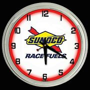 16 Sunoco Race Fuel Gasoline Sign Red Single Neon Clock Gas Station Oil Lube