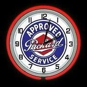 19 Packard Approved Service Sign Red Double Neon Clock Man Cave Garage Shop