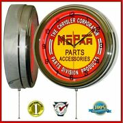 16 Chrysler Mopar Parts And Accessories Red Neon Lighted Wall Clock Garage Decor
