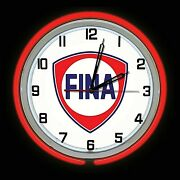 19 Fina Gas Oil Station Sign Red Double Neon Clock