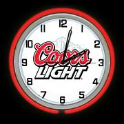 19 Coors Light Beer Sign Double Red Neon Clock Man Cave Garage Bar Game Room