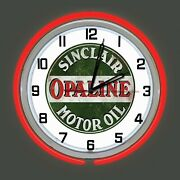 19 Sinclair Opaline Motor Oil Sign V2 Double Red Neon Clock Man Cave Garage