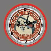 19 Ducks Unlimited Wetlands Conservation Sign Red Double Neon Wall Clock