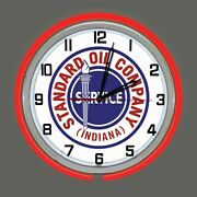 18 Standard Oil Co Indiana Sign Double Neon Clock Gas Gasoline Station Lube