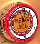 18 Mopar Parts And Accessories Sign Double Neon Clock Dodge Plymouth Ram Chrysler
