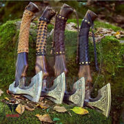 Lot Of 4hand Forged Viking Axe Etched On The Carbon Steel Head Fire Forged