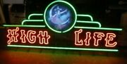 Vtg Miller High Life Beer Girl On The Moon Neon Light Up Sign Marquee Bar Rare