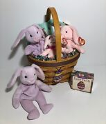 New Longaberger 1996 Easter Basket Combo And 5 Beanie Baby Bunnies 4 W/tags