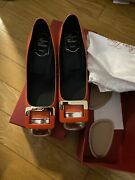 Roger Vivier Red Leather Square Toe Pumps Heels Shoes Size 38