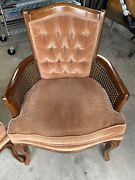 Vintage Arm Chair Velour Wood Wicker Chicago