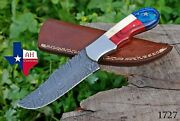 Hand Forged Damascus Steel Hunting Knife And Texas Flag Handle Sheath Ah-1727