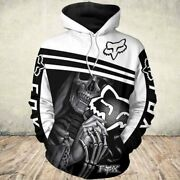 Death Skull Holding Fox Racing Men And Women 3d Hoodie