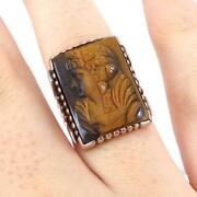 Vintage Cameo Carved Tigers Eye Silhouette 14k Yellow Gold Ring Size 6.5 Lhj2