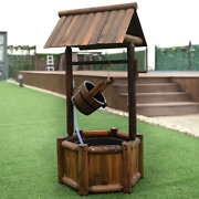 Garden Rustic Wishing Well Wooden Water Fountain With Pump