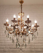 Antique Vintage 8+4 Arms Cast Brass And Crystals Cherub Chandelier Lighting Lamp