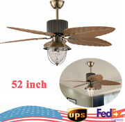 E27 Bulbs 52 Inch Tropical Palm Leaf Fan Chandelier 3 Speeds With Remote Control