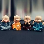 4 Plastic Baby Monks Figurines Colourful Buddha 40 X 40 X 60 Mm - Free Shipping