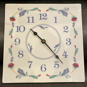 Vintage Square Lenox Poppies On Blue Wall Clock Fast Free Usa Priority Shipping
